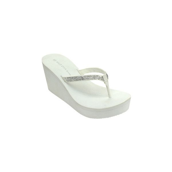 Wild Diva Acacia-05 Women's Fashion Slip On Rhinestone Flip Flop... ($26) ❤ liked on Polyvore featuring shoes, sandals, flip flops, white, wedge flip flops, white platform sandals, wedge sandals, white wedge sandals and platform wedge flip flops