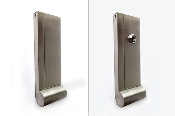 AP Door Knocker: modern and minimal door knocker available with or without integrated peephole. Available in Brushed Stainless Steel  Available at DESU DESIGN