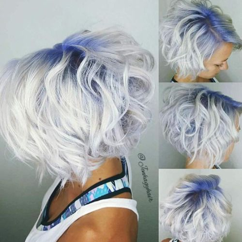 White hair with blue roots, looks so cool x