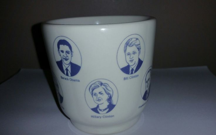 Fishs Eddy Famous Democrats Jess Maz Political Coffee Mug Cup Obama Clinton Jfk