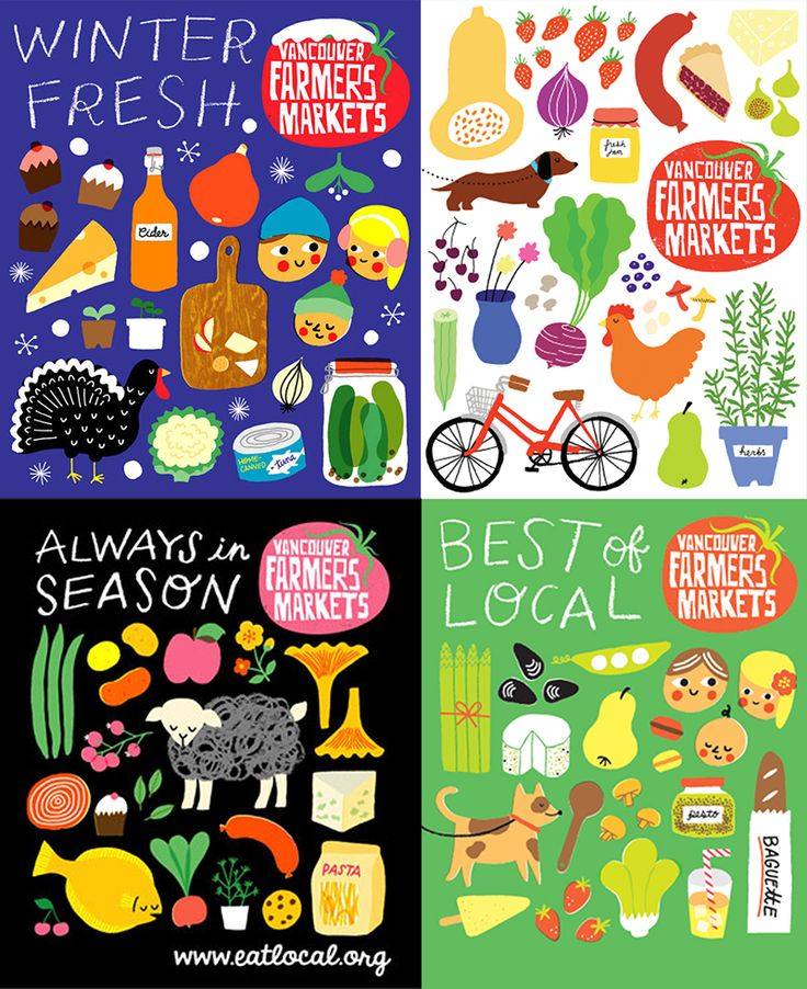 Vancouver Farmers Markets are one of my favourite things about Vancouver. I  honestly think one thing that has greatly contributed to the buzz and  overall charm of the markets is the branding and promotion work by Jane Koo . Her illustrations are perfectly colourful and charmingly childlike, but  all the while classy.   I love the how the mostly solid, flat shapes are accented with well-placed  use of colour overlays. Everything has a really hand-drawn feeling about it  even though it was…