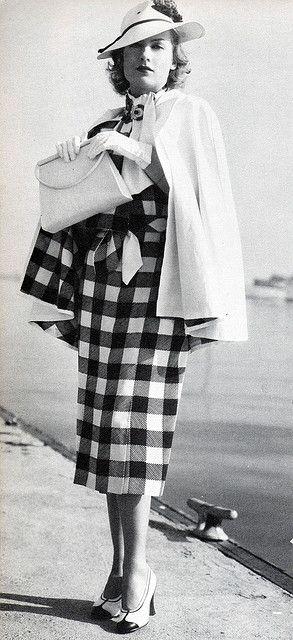 Carole Lombard 30s 40s suit dress jacket cape plaid checks black white hat purse shoes vintage fashion style photo print ad movie star