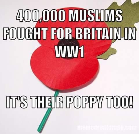 Those using the poppy for their hate fueled agenda should bear this in mind too.