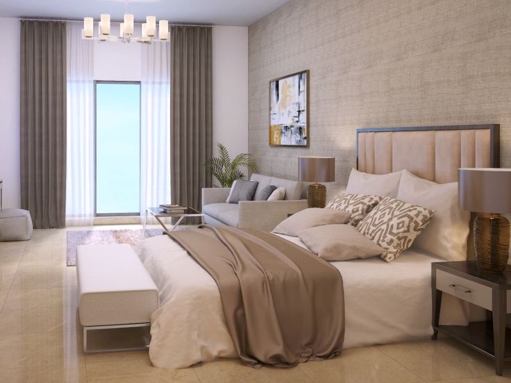 Modern apartment Master bedroom interior design with a king size bed in pastel color scheme for a couple #bedroom #masterbedroom #modernbedroom #spaziointeriordecorationllc