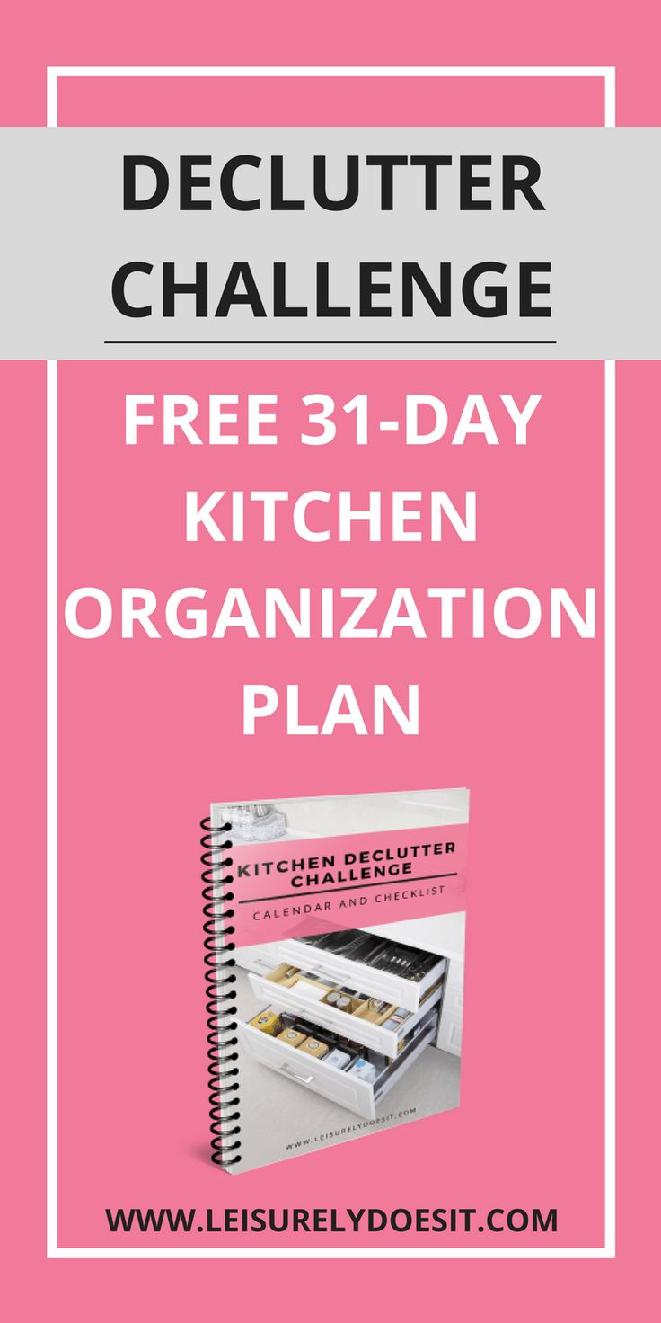 An organized kitchen can be life-changing. If you want to remove clutter from every nook and cranny of the most-used room in your home, join the Kitchen Declutter Challenge. You'll receive a free printable checklist with simple organizing ideas. Click here to sign up for this 31-day challenge now!