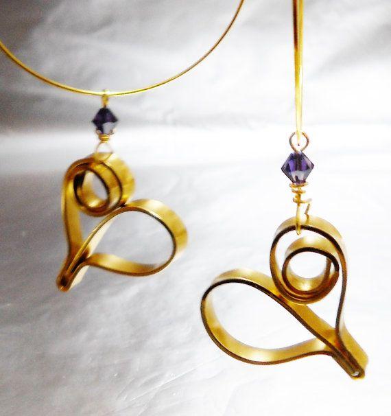 Dangle heart earrings - Wire wrapped earrings - Gold and purple on Etsy, $16.92
