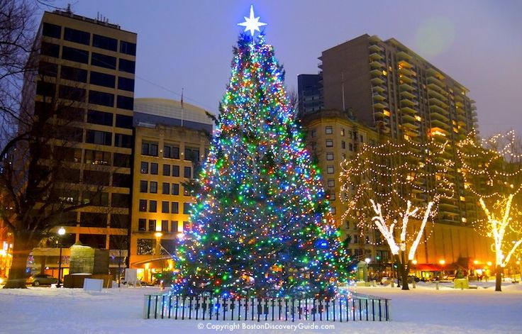 Christmas in Boston - Blink! holiday lights and Christmas tree in Faneuil Hall Marketplace - Custom House in background - BostonDiscoveryGuide.com