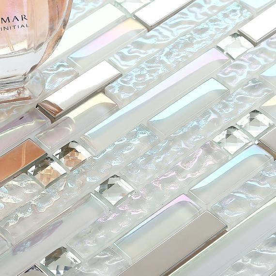 Iridescent White Silver Nb01 12x11 8 Sheet Etsy White Glass Tile Stainless Steel Tile Backsplash Glass Tile Backsplash