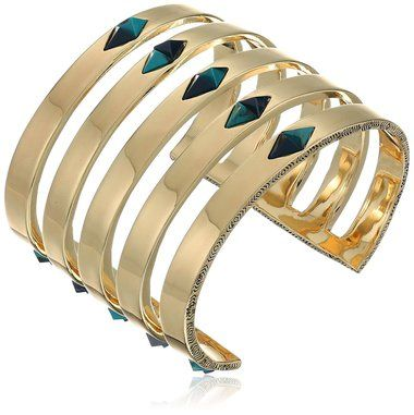 House of Harlow The Flip Side Statement Cuff - Gold turquoise - The Style Merchant