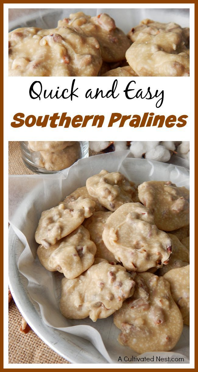 Homemade pralines are a delicious dessert that can be easily made without a candy thermometer! Check out this quick and easy Southern pralines recipe! These would make a great gift!