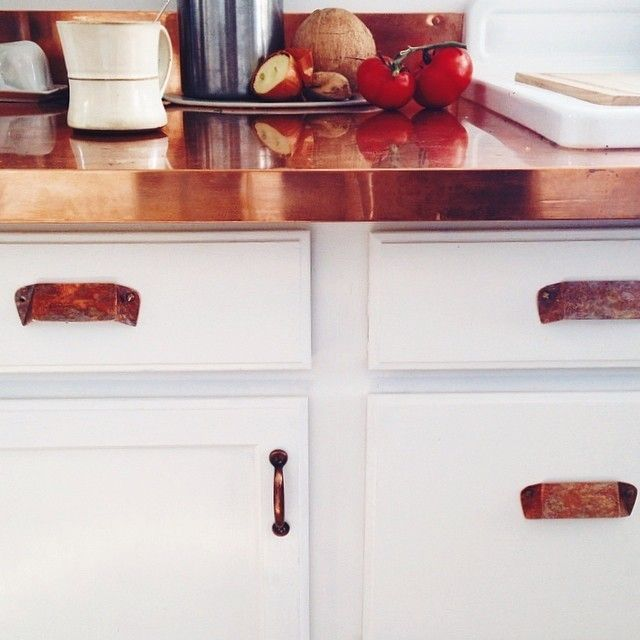 Jeweler Molly Conant's attainable DIY #copper kitchen. (Click through to see the copper #chandelier!)