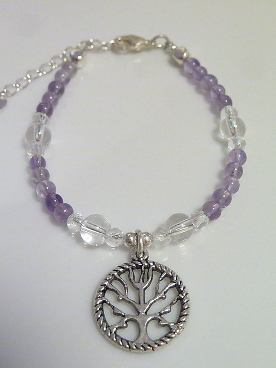 Amethyst with Clear Quartz Bracelet with a tree by MystiqueCrystal, $16.00