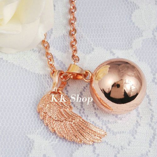 18k Rose Gold Harmony Ball Pendant(angel caler) with chain necklace, a meaningful gift jewelry for mother to be