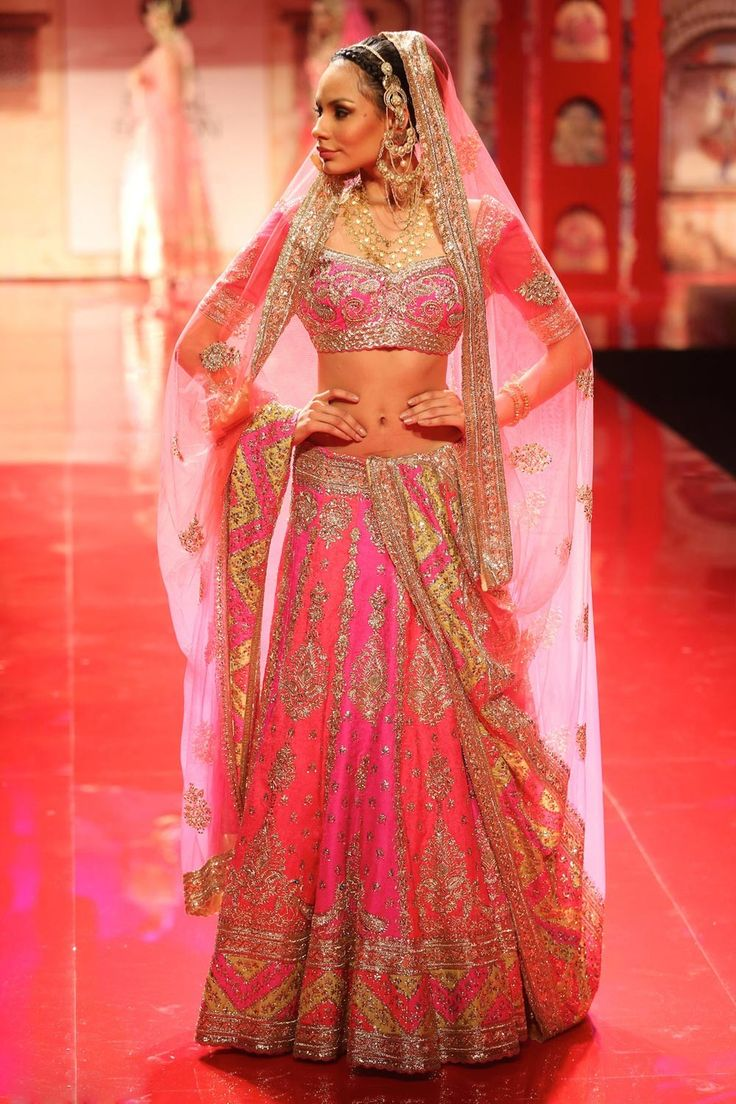orange pink lengha - Google Search