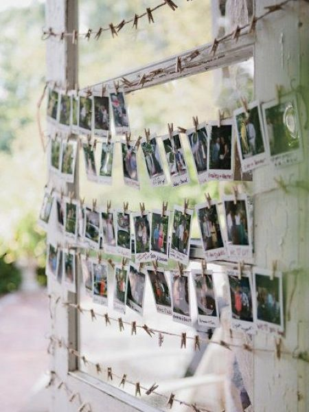 Leave a polaroid camera out and get your guests to take a snap and pop it on   display. From Pinterest