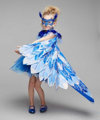 Pretty Bluebird Costume For Girls - exclusively ours - Twirl and fly, pretty bird! You're a rare sight, covered in blue with an ornate lace mask and dramatic collar. A feather-print sparkles on the stretch-velvet bodice and frothy tulle makes a twirly skirt.