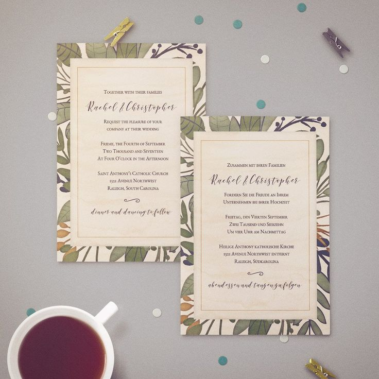 custom wedding invitations nashville%0A Two Language Bilingual Wedding Invitation   Rustic Watercolor Foliage  Design Featuring Calligraphy Style Font
