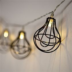 String Of Lights With Light Bulb Wire Cage - Battery LED, Industrial Chic Wedding Decorations