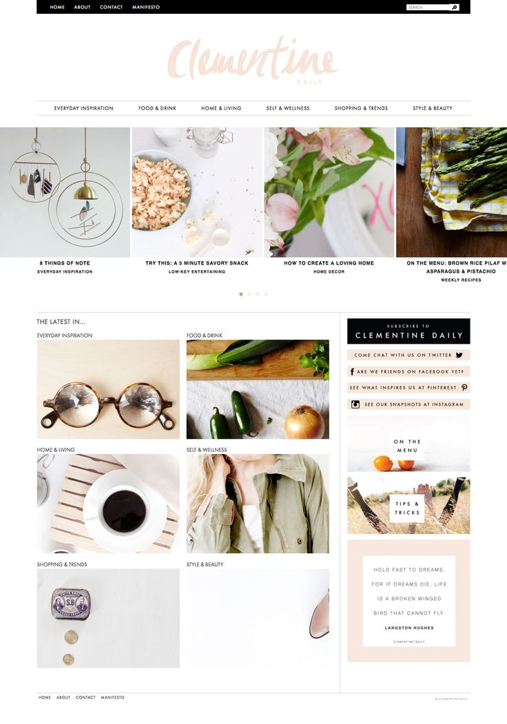Clementine #webdesign #simplicity #blog #white #pink