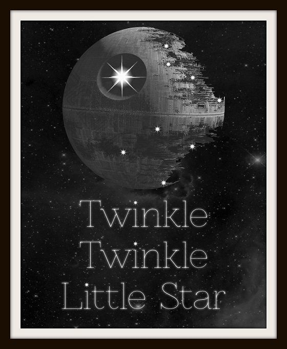 Twinkle Twinkle Little Death Star Typography Nursery Art | Geek-a-bye Baby