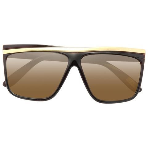 ddb9f7b4474 Kids Gold Bar Accent Plastic Horn Rimmed Sunglasses