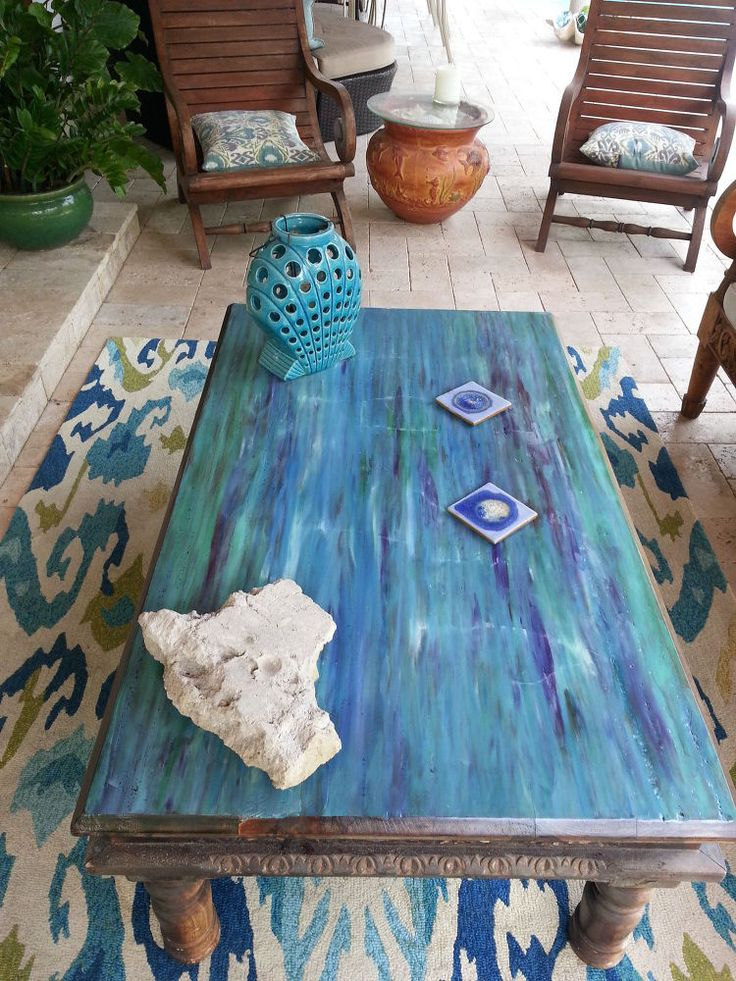 revamped with 'unicorn spit' paint and tung oil - beachy to the max!! jh