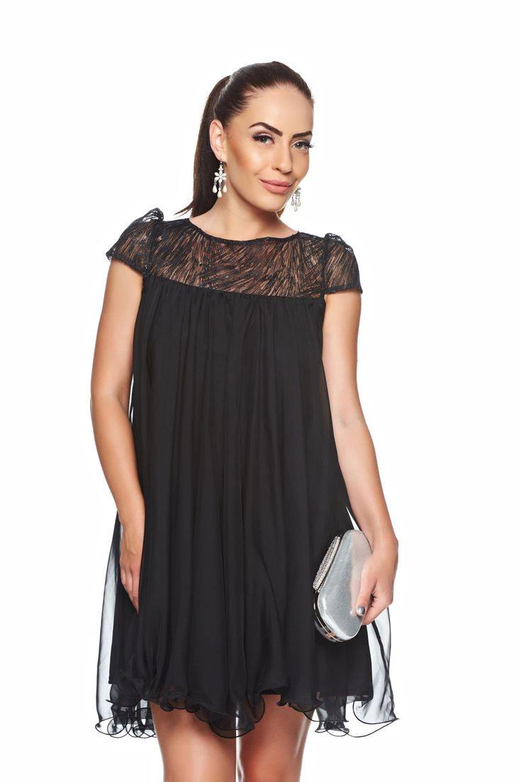 Artista Delight Events Black Dress, embroidery details, laced fabric, short sleeves, back zipper fastening, inside lining, veil, nonelastic fabric, women`s dress