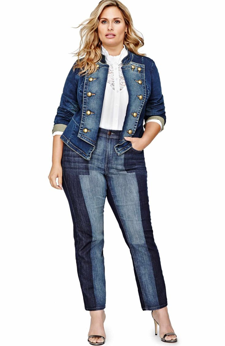Main Image - ADDITION ELLE LOVE AND LEGEND Military Denim Jacket (Plus Size)