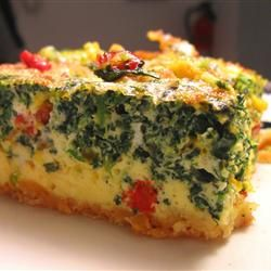Quick Quiche - Allrecipes.com Original recipe makes 1 - 8x8 inch quiche 1 (8 ounce) package refrigerated crescent rolls 2 slices Black Forest ham 1/2 cup roasted red peppers, drained and chopped 1 (10 oz) package frozen chopped spinach, thawed & drained 1/2 cup grated Cheddar cheese 6 eggs 3 TBS milk 1 pinch black pepper 1 dash hot pepper sauce (such as Tabasco®)