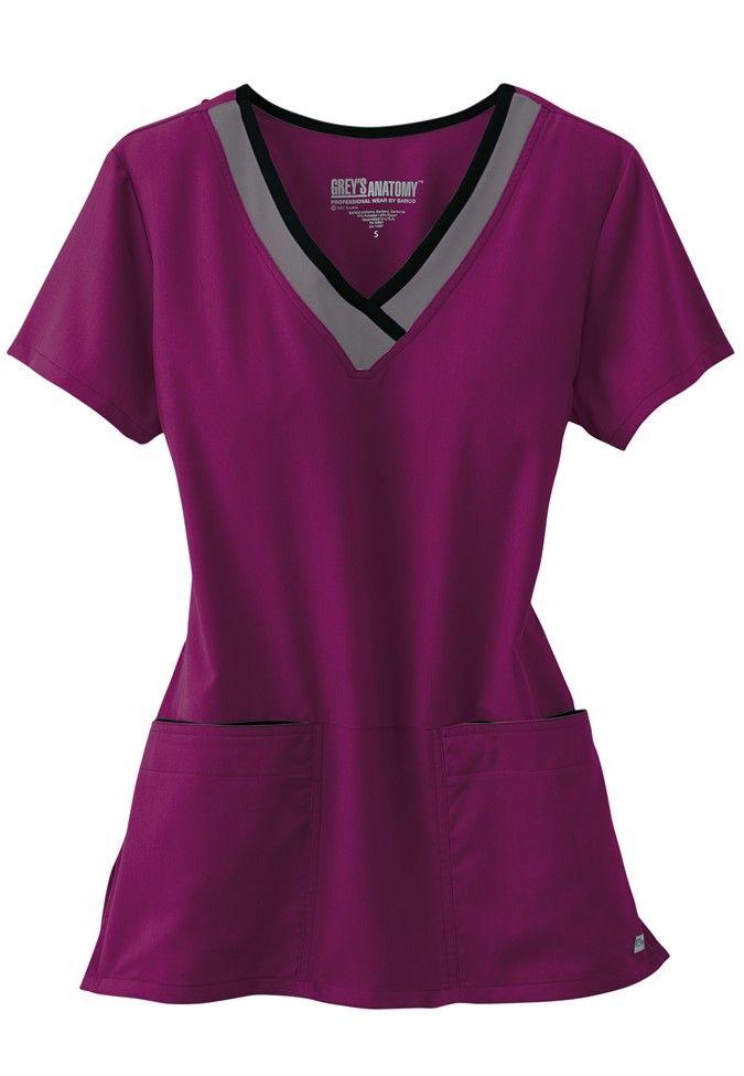 Greys Anatomy color block contrast neck scrub top.
