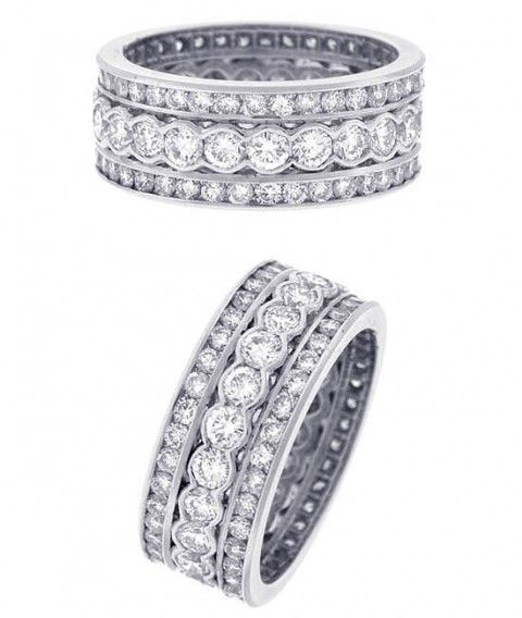 antique estate diamond jewelry platinum diamond triple band right hand ring
