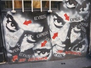 "Jef Aerosal, ""eyes"". Five stencils used more than once to create this image."