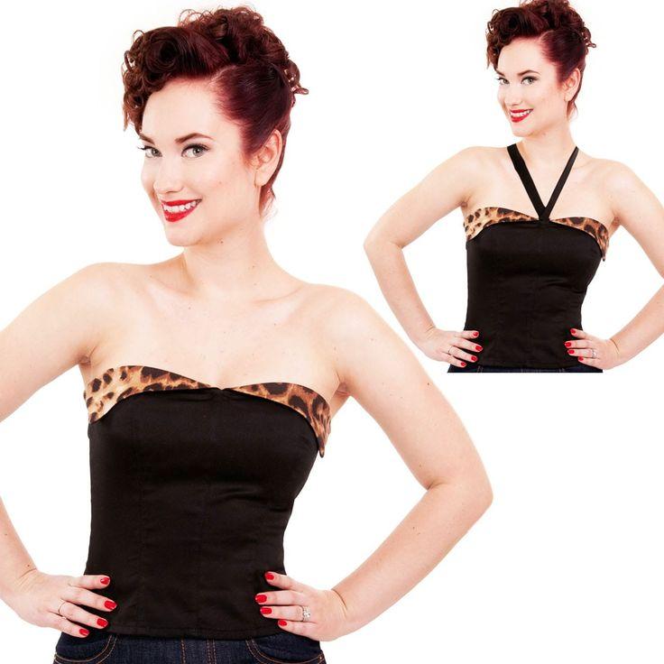 Steady Clothing Cherry Dollface Suntop Top - Black/Leopard Print