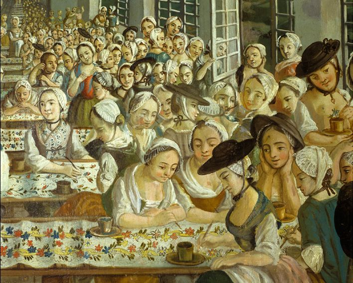 Detail of female employees in Wetter's calico factory, painting cotton ready for export. The Wetter, Factory, 1765 by  Joseph Gabriel Rossetti Maria.  Wetter had 500 empoyees in his factory doing various jobs. His fabric designers trained at the Academy of Painting in Marseille.