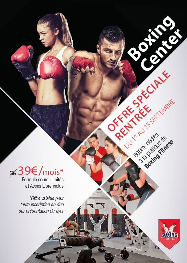 Flyer Boxing Center  #flyer #print #communication #flyerA5 #boxing #boxe #toulouse #ewolis #creationewolis