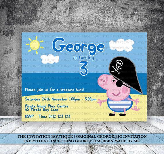 George Pig Pirate Invitation Peppa Pig on Etsy, £7.14