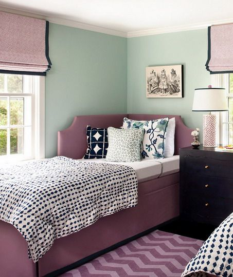 Green Wall Color Scheme And Purple Beds In Small Teenage