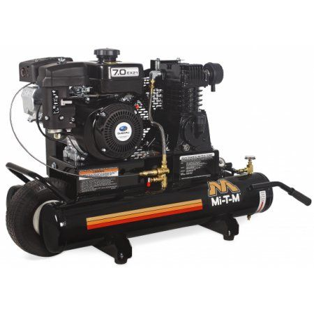 Mi-T-M AM1-PR07-08M Portable Air Compressor- 8-Gallon, Single Stage, with gasoline 211cc Subaru OHC engine, Black