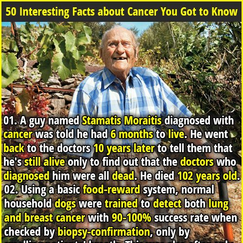 1. A guy named Stamatis Moraitis diagnosed with cancer was told he had 6 months to live. He went back to the doctors 10 years later to tell them that he's still alive only to find out that the doctors who diagnosed him were all dead. He died 102 years old. 2. If a man pees on a pregnancy test and it's positive, he probably has cancer.