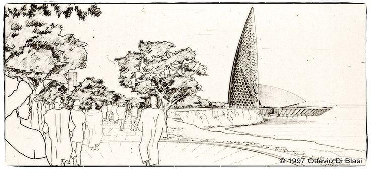 Esquisse au crayon du Mémorial de Gorée à Dakar par Ottavio Di Blasi en 1997 - www.memorialdegore.org