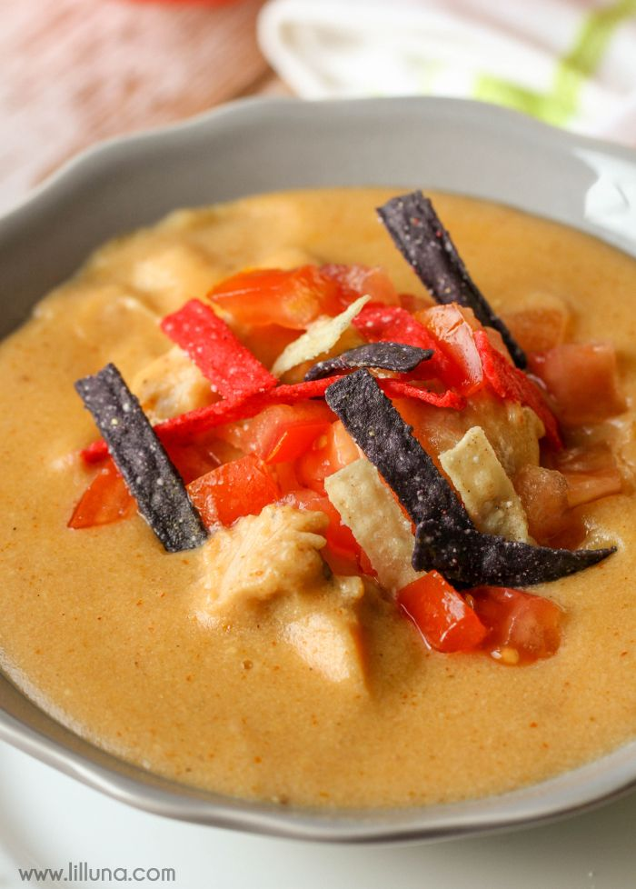 Chili's Chicken Enchilada Soup - this soup recipe tastes just like the real thing and is filled with chicken, tomatoes, cheese and more!