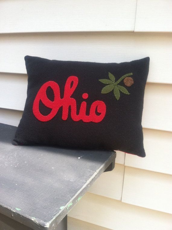 Ohio State Buckeye Pillow OSU Throw Pillow by WOOLYPRIMITIVES