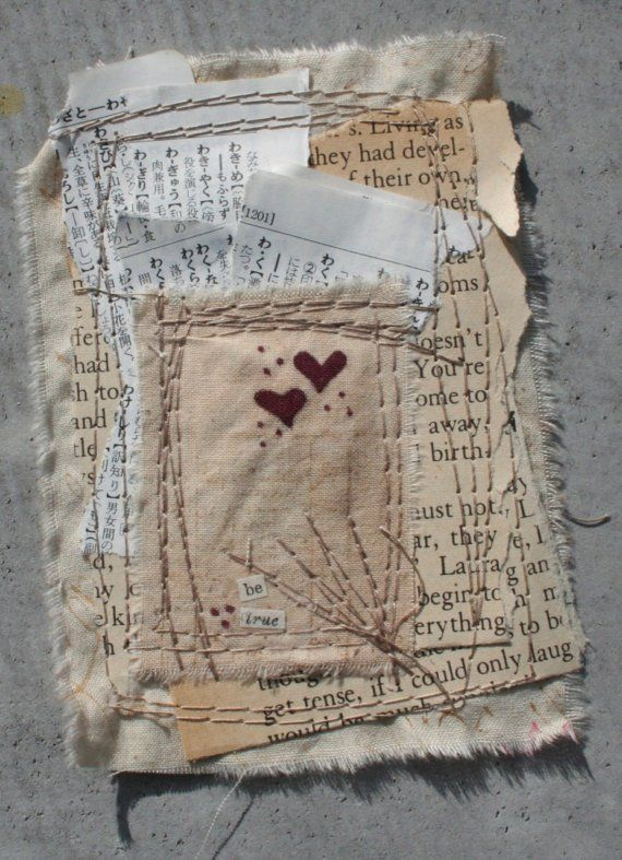 mixed media art, textile design, stitching on fabric, heart, stitching, stitch, sewing, sew, crafts, paper