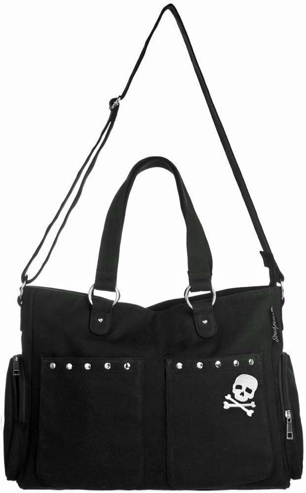 Baby Cool Punk Rock Diaper Bag & Changing Pad: Black Studded