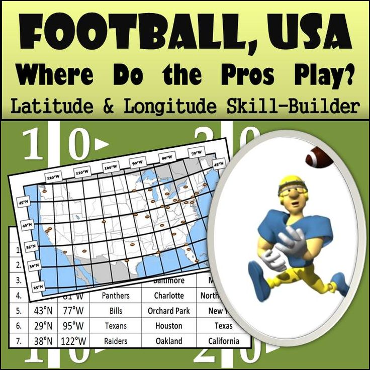 Looking for a fun way to have students practice their latitude and longitude skills...especially when the Super Bowl is approaching? This activity has students plot the locations of where the 32 professional football teams play in the USA.  Students plot the coordinates on the map provided with a little football they draw and then identify which state the team's stadium is in.  #football #latitudeandlongitude #middleschoolgeography #footballgeography