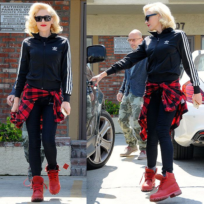 Who said track jackets only go with sneakers? When chosen in a bold color, Timberlands can look as good with sportswear as they do with plaid jackets. Gwen Stefani apparently couldn't choose which looked better, so she wore both in one outfit!