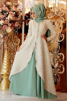 Gamze Polat Mint Orkide Abiye Elbise