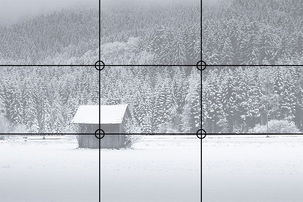 The rule of thirds involves mentally dividing up your image using 2 horizontal lines and 2 vertical lines, as shown below. You then position the important elements in your scene along those lines, or at the points where they meet.