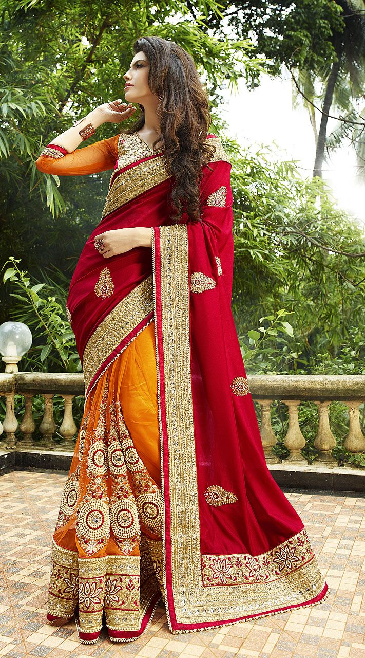 Wedding Designer Red And Orange Silk Net Saree