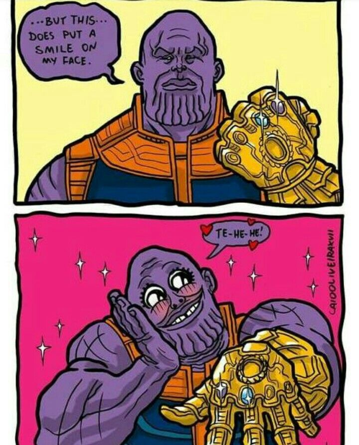 Thanos is happy about his guntlet
